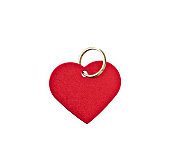 Red metal heart-shaped tag