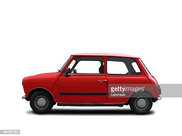 a red mini cooper from the 1960s - mini cooper stock pictures, royalty-free photos & images