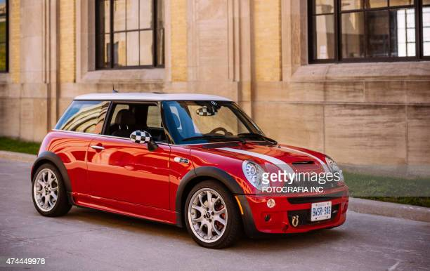 red mini cooper s jcw - mini cooper stock pictures, royalty-free photos & images