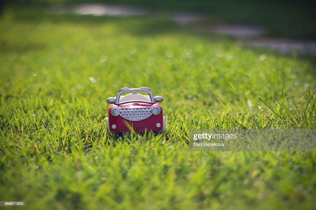 Red miniature toy car on the grass : Stock Photo
