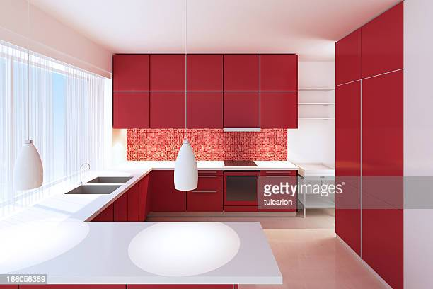 Red Minimalist Kitchen