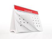 Red Monthly Desktop Calendar