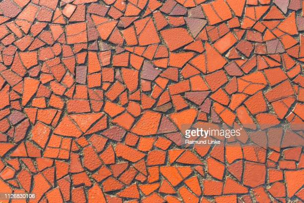 red mosaic on the monument, etretat, seine-maritime department, atlantic ocean, normandy, france - mosaic stock photos and pictures