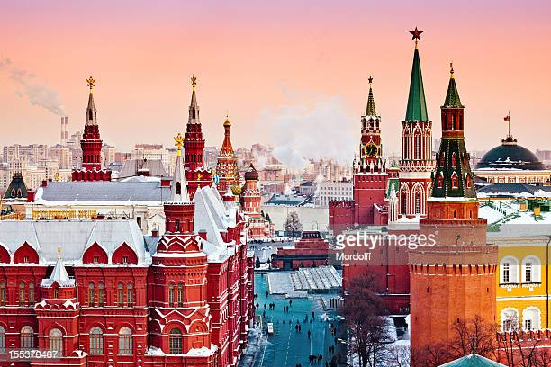 red moscow at winter sunset - moscow russia stock pictures, royalty-free photos & images