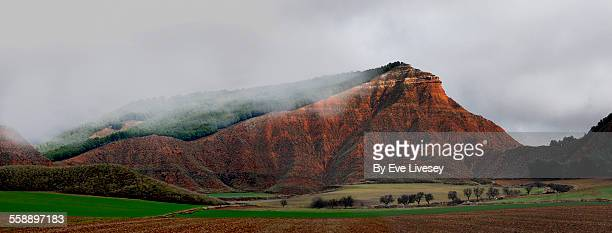 Red Mountain under Clouds Panorama