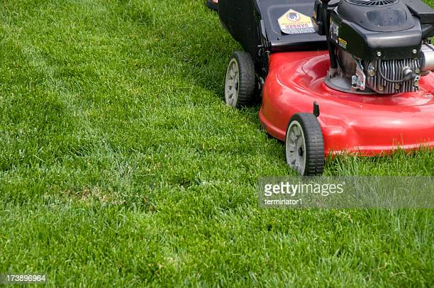 Red Mower Cutting Tall Grass