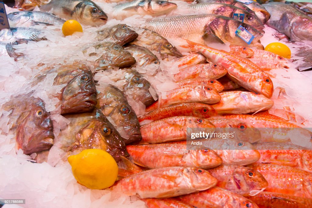 Red mullet on a fishmonger's stall. : News Photo