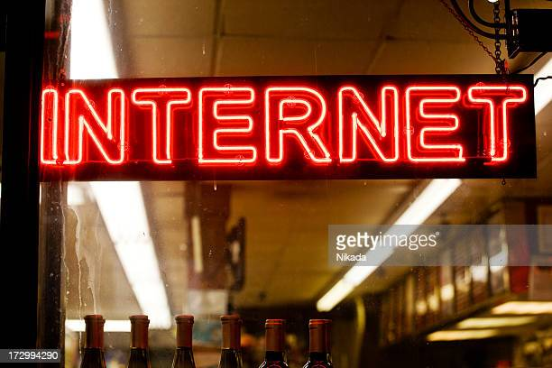 Red neon Internet sign