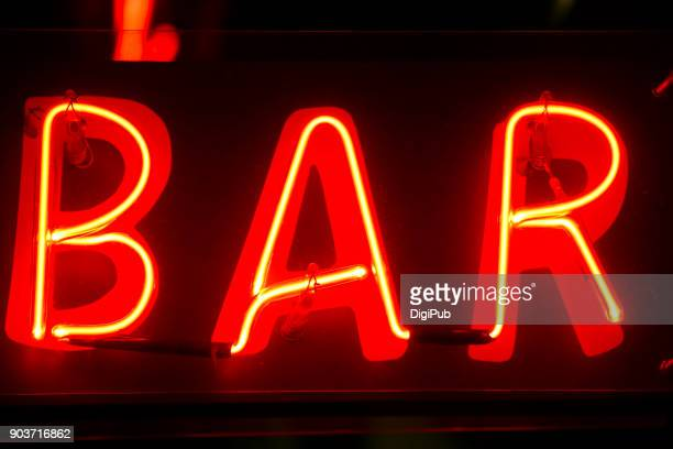 """Red neon sign """"BAR"""""""
