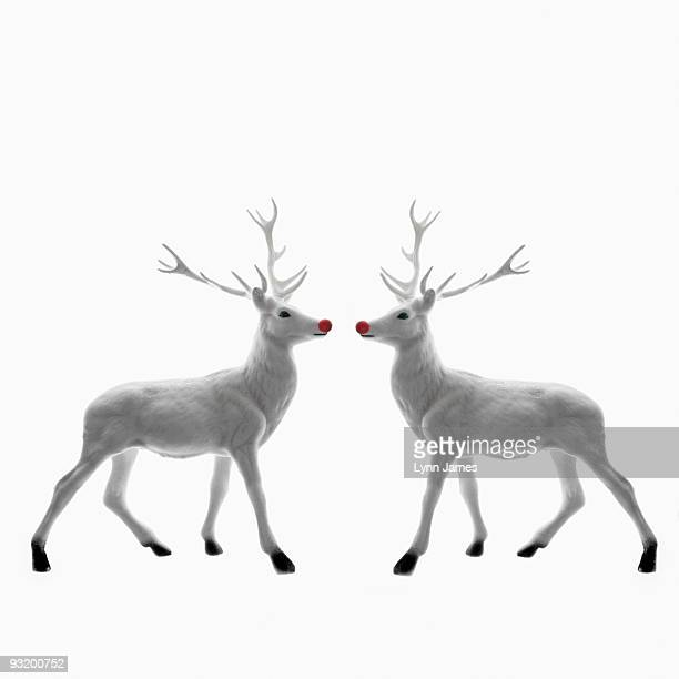 Red Nosed Reindeer facing each other