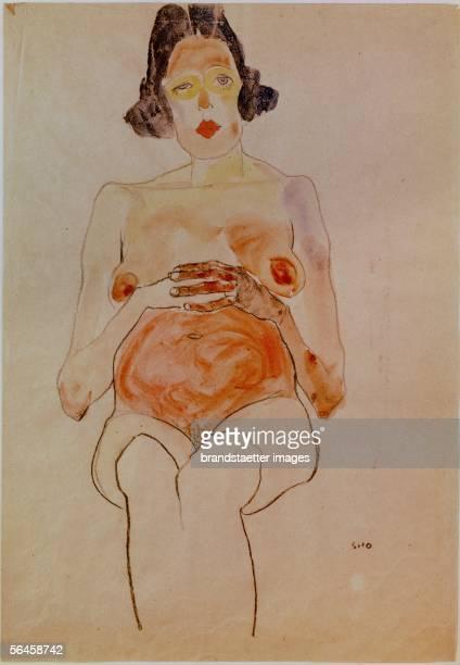 Red nude pregnant By Egon Schiele 1910 Watercolor and charcoal 445 x 31 cm [Roter Akt schwanger Von Egon Schiele 1910 Aquarell und Kohle 445 x 31 cm]