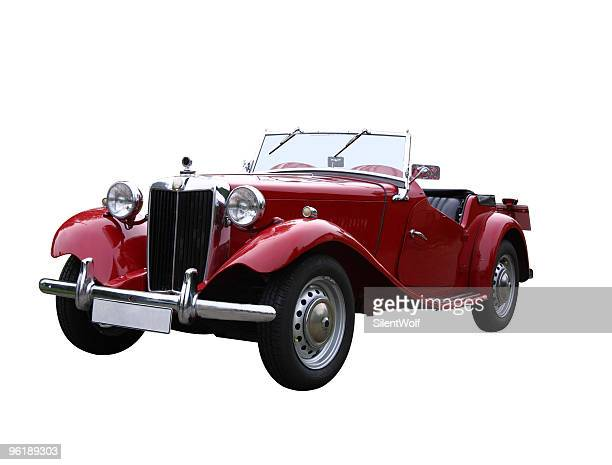 red oldtimer (with clipping path) - vintage car stock pictures, royalty-free photos & images