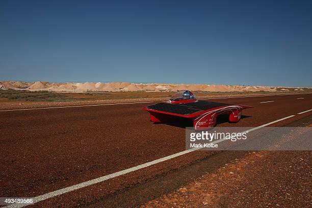 Red One of Solar Team Twente Netherlands arrive into Coober Pedy as they race on day four in the Cruiser Class of the 2015 World Solar Challenge on...