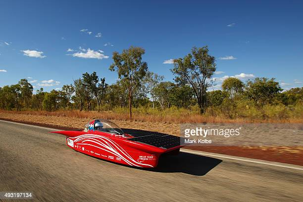Red One of Solar Team Twente Netherlands races between Katherine and Dunmarra in the Challenger Class during day one of the 2015 World Solar...
