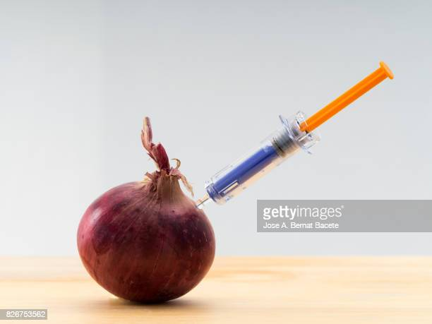 Red onion with a laboratory syringe nailed to an experiment ; food concept transgenic and modified genetically.