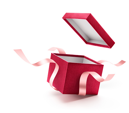 Red open gift box with ribbon isolated on white background 873888076