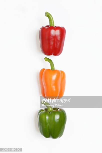 Red, orange and green peppers, close-up