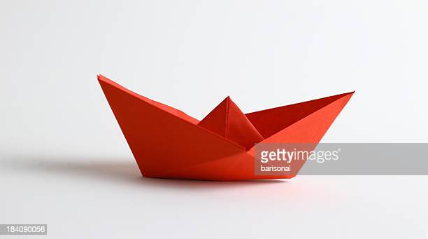 Red origami boat