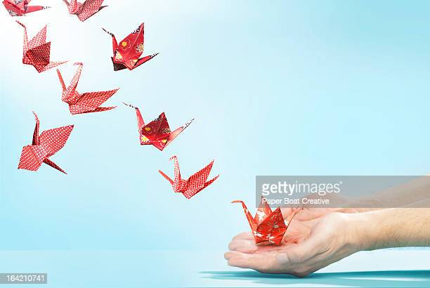 red origami cranes flying away from hands - bird stock photos and pictures