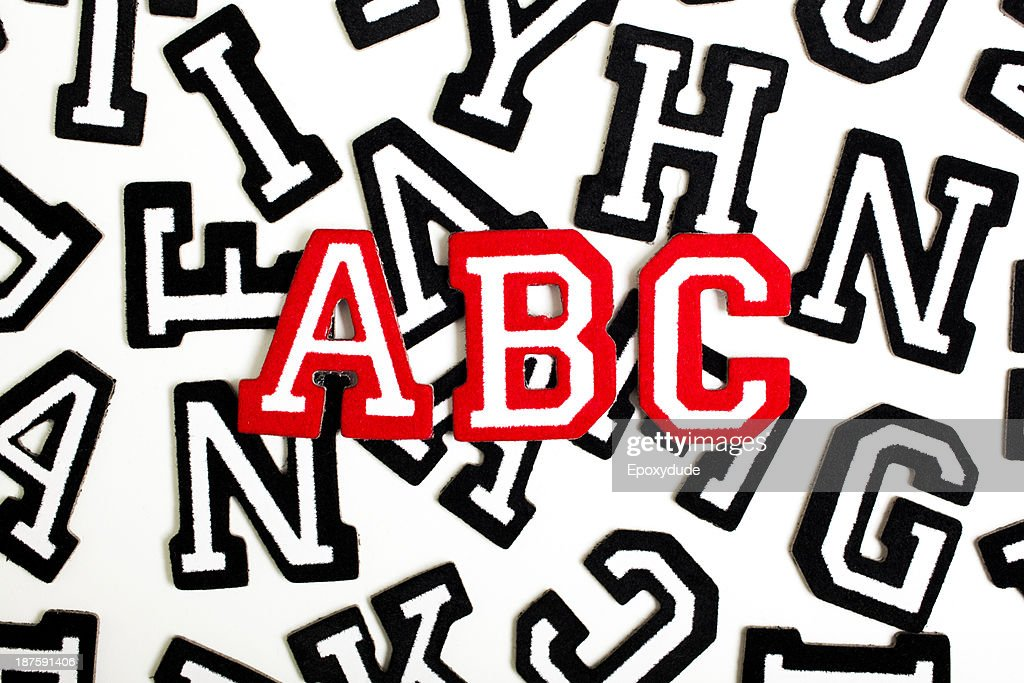 Red Outlined Varsity Font Stickers Spelling Abc Top Black