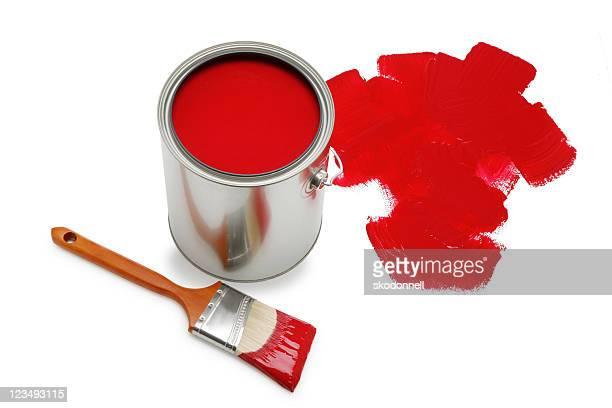 Rouge Pot de peinture et pinceau