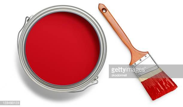 Rote Farbe kann und brush