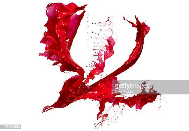 Red paint splash white background