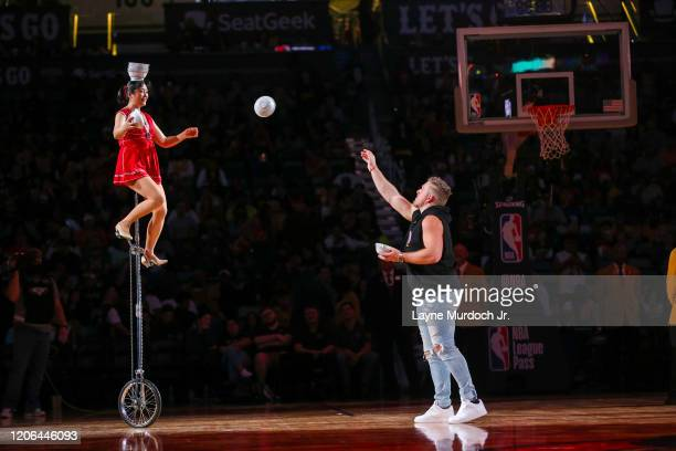 Red Panda performs with Pat McAfee during halftime of the game between the Minnesota Timberwolves and the New Orleans Pelicans on March 3 2020 at the...