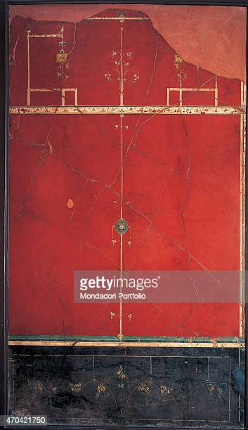 'Red Panel by unknown artist c 11 1st Century BC ripped fresco 278 x 171 cm Italy Campania Naples National Archaeological Museum Room LXX inv 147505...