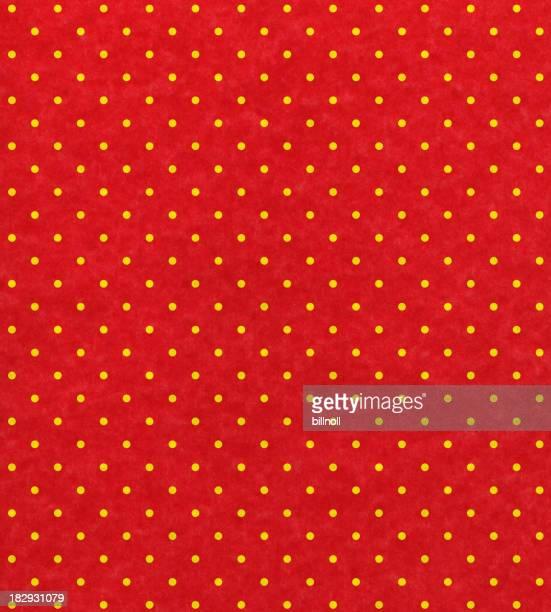 Du papier rouge avec pois jaune