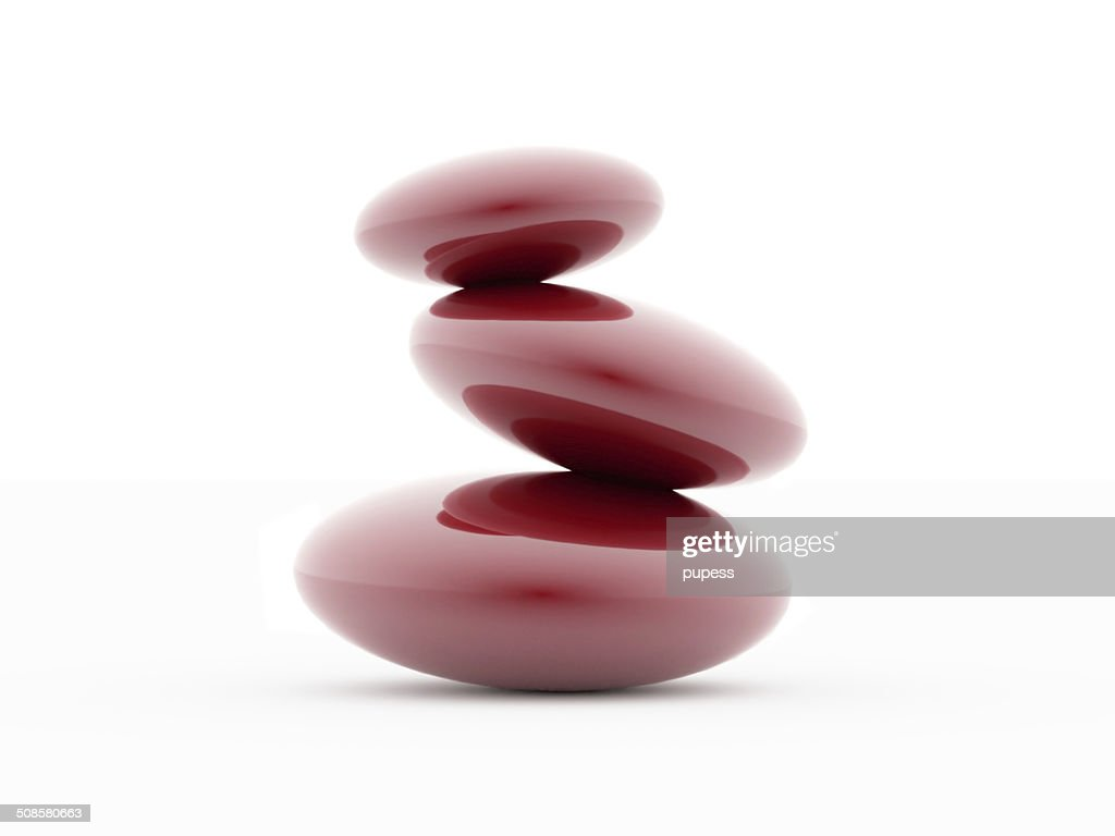 Red pebbles on white : Stock Photo