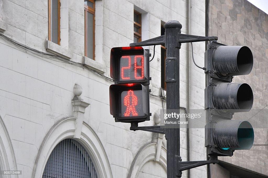 Red Pedestrian Traffic Light in Lima, Peru : Stock Photo