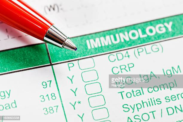 Red pen on Immunology form ordering HIV/AIDS blood tests