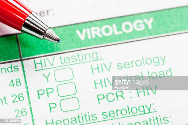 Red pen on virology form ordering HIV tests