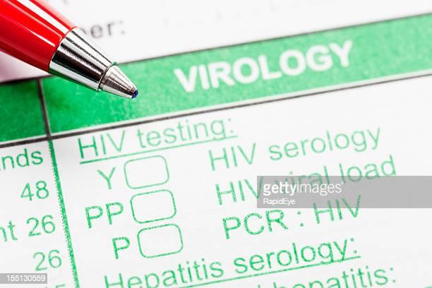 Caneta vermelha em forma de Virologia encomenda Testes de VIH