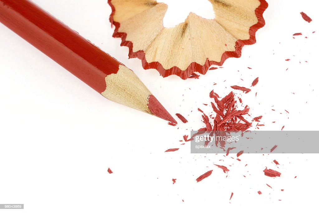Red pencil with shavings : Stockfoto