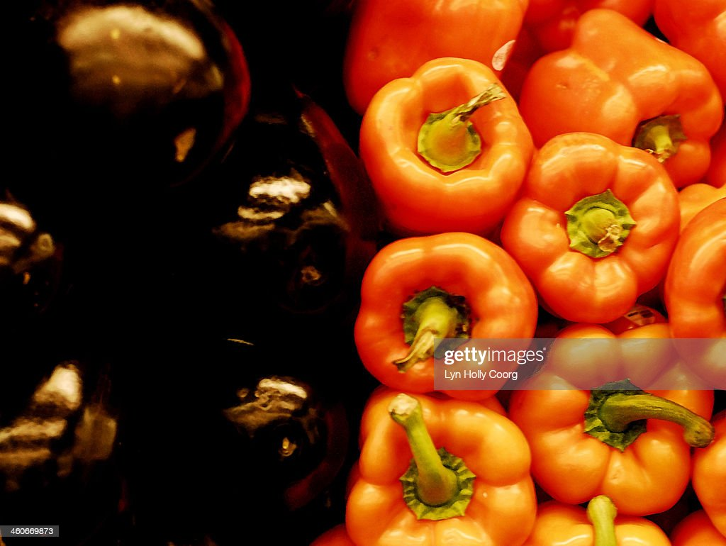 Red peppers and eggplants : Stock Photo