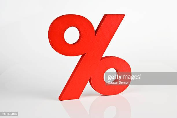 A red percentage sign