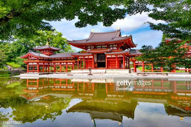 Red Phoenix Hall Reflection landmark of Byodoin Temple in Summer, Uji ,Kyoto, Japan