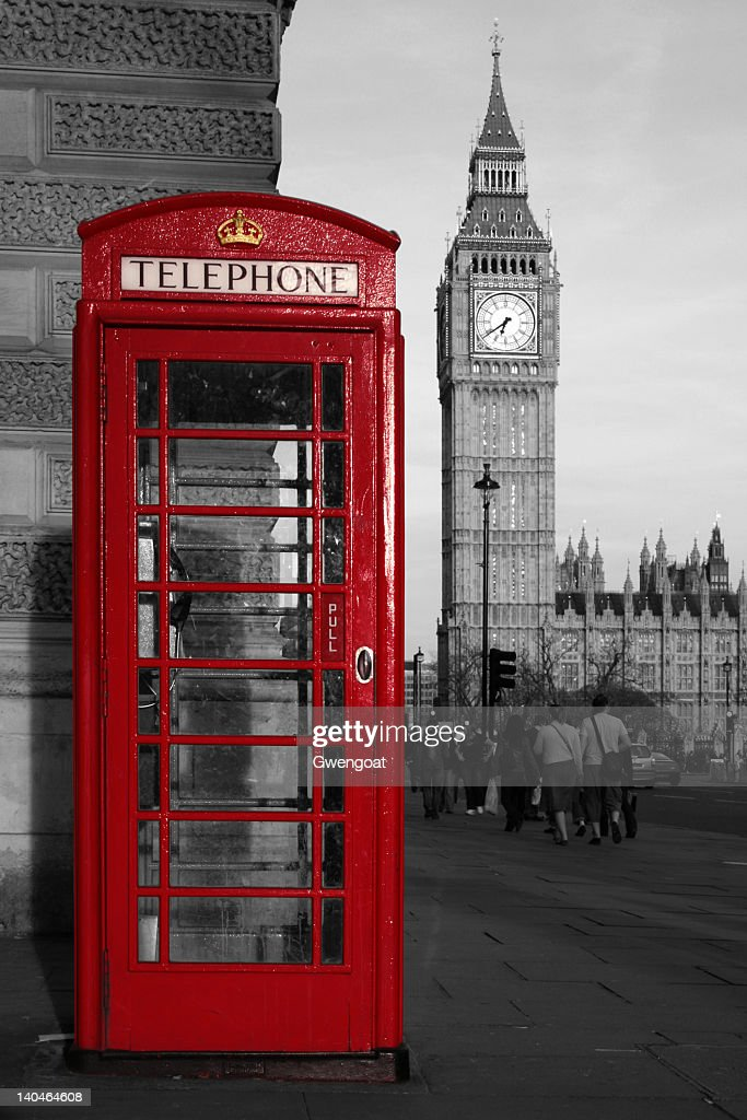 Red phone booth and Big Ben : Stock Photo