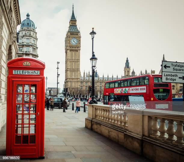 red phone booth and big ben - red telephone box stock pictures, royalty-free photos & images