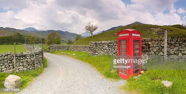 Un téléphone rouge boîte, le Lake District, Royaume-Uni