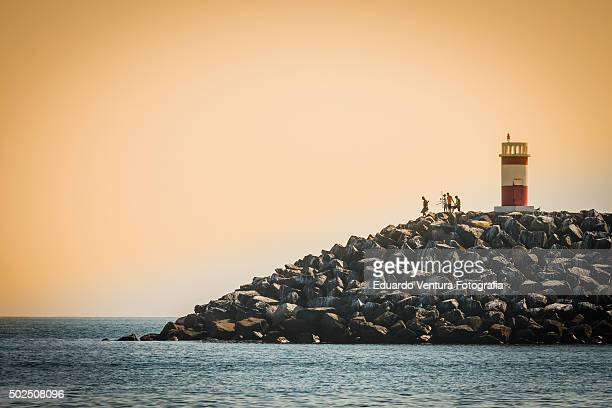 Red Pier Lighthouse in Sines, PORTUGAL