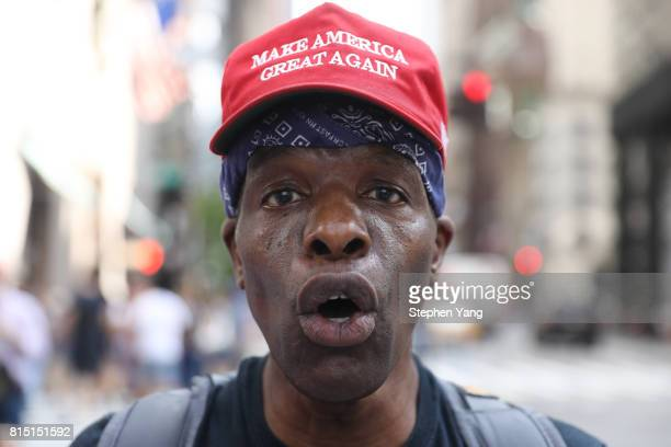 Red Pill Ken a ProTrump counter protester during an antiTrump protest outside of Trump Tower on 5th Avenue on July 15 2017 in New York City