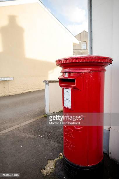 Red pillar mailbox