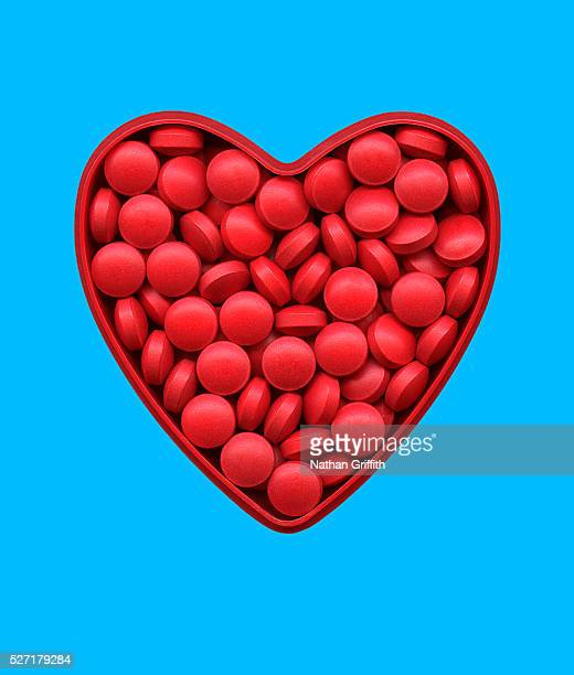 Red Pills in Heart-shaped Container