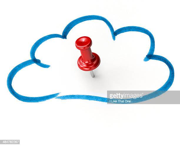 Red pin in a drawing of a cloud
