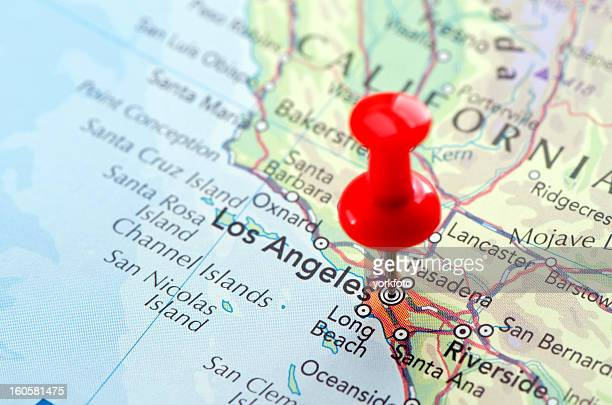Red pin pointed on the Los Angeles map