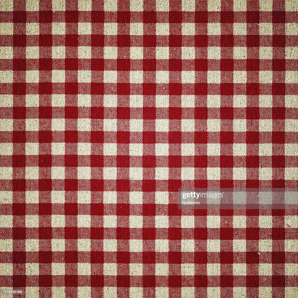 Red Plaid Fabric : Stock Photo