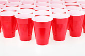 Red plastic cups set up in an organized pattern